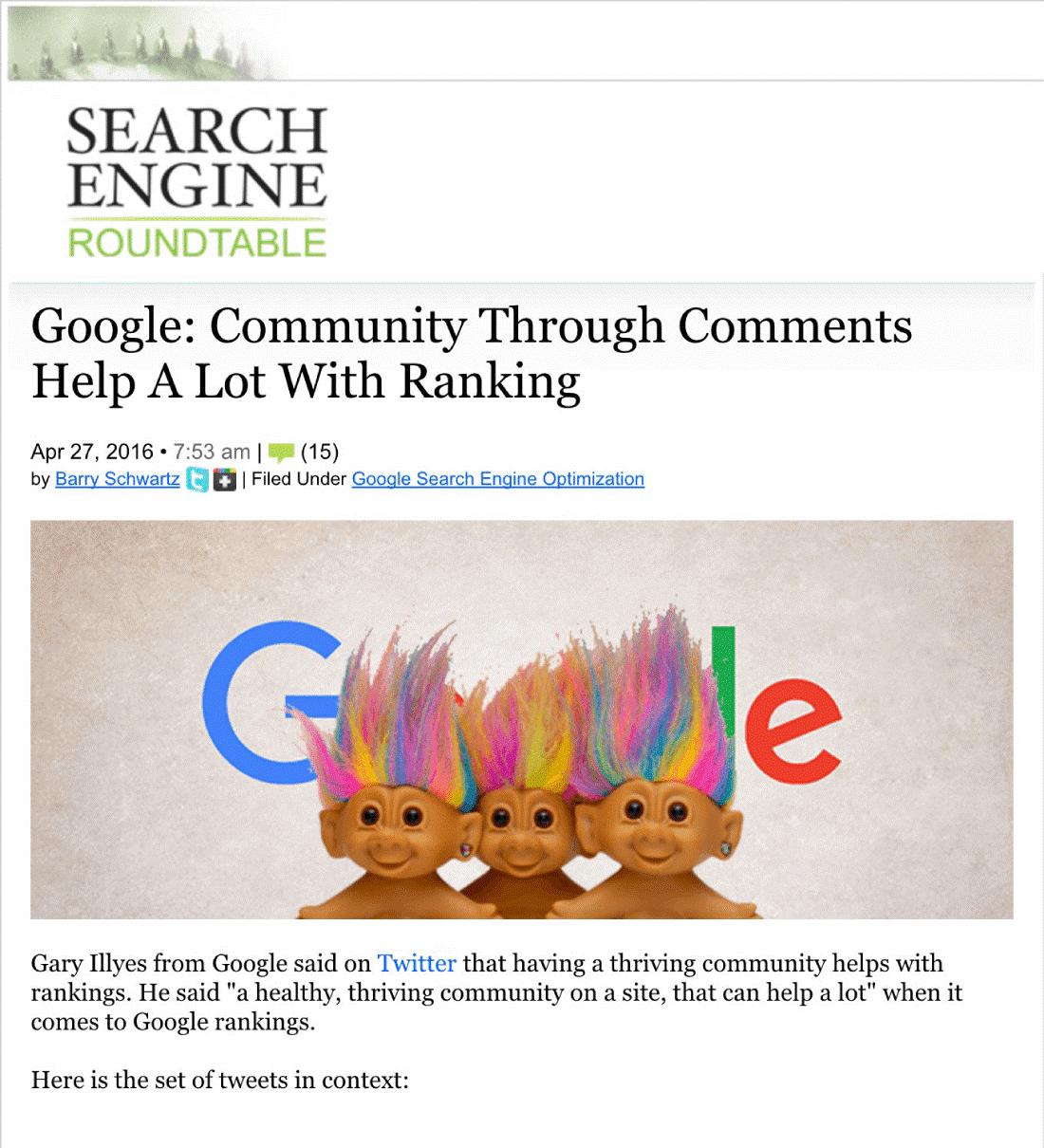 comentariile ca si factor de ranking