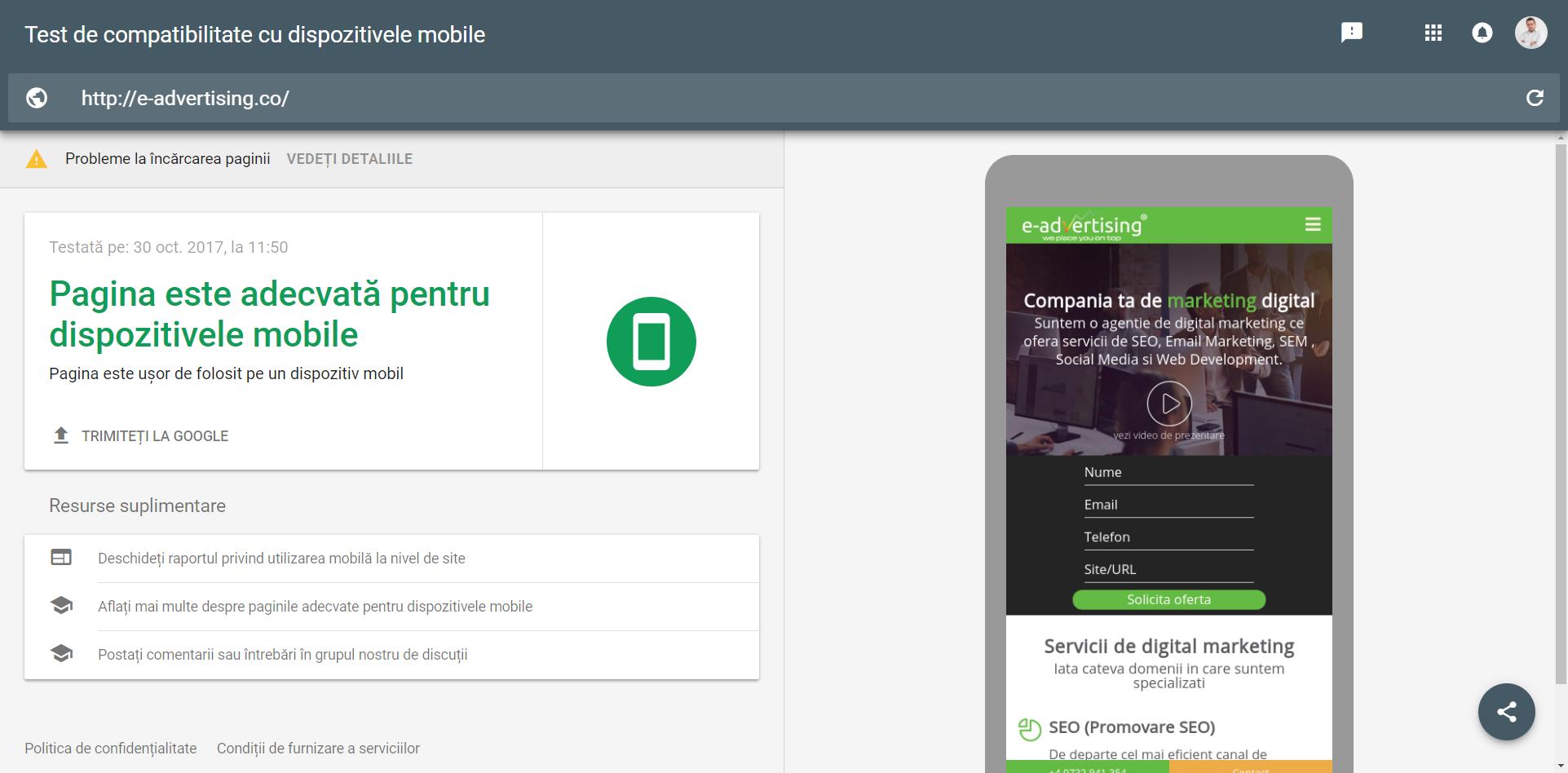 test dispozitive mobile
